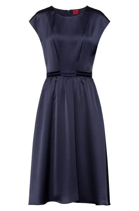 A-line dress in hammered crepe with contrast waistband, Blue