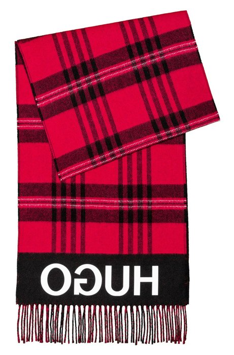 Checked scarf with fringing and reversed logo, Patterned