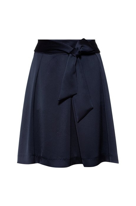A-line skirt in hammered satin crepe with tie belt, Dark Blue