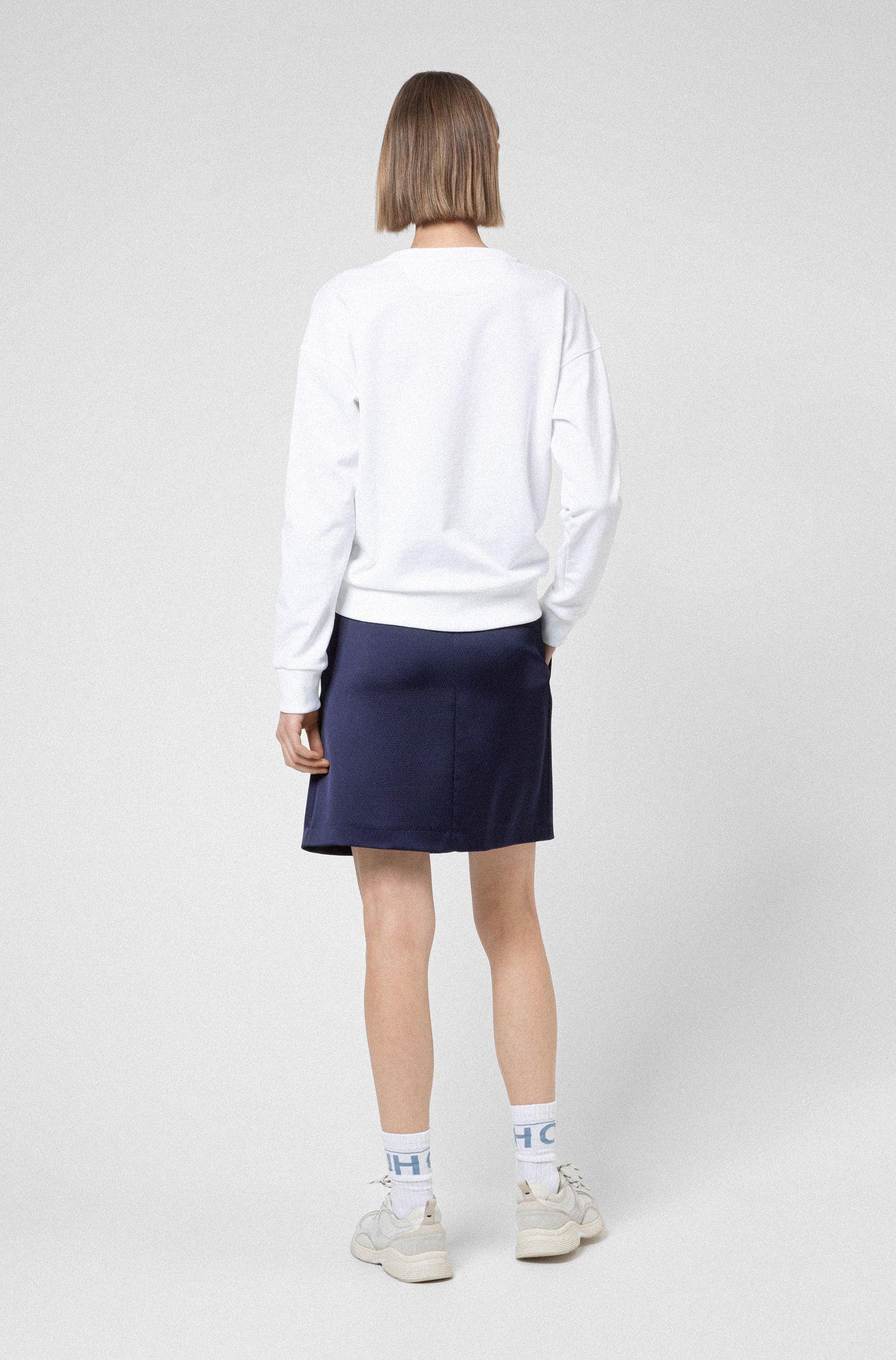 A-line skirt in hammered satin crepe with tie belt, Dark Blue