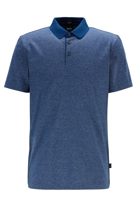 Slim-fit polo shirt in finely striped mercerised cotton, Dark Blue