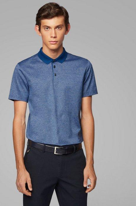 Polo Slim Fit en coton mercerisé à fines rayures, Bleu foncé