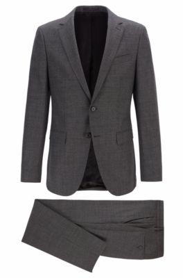 Micro-patterned slim-fit suit in virgin wool serge