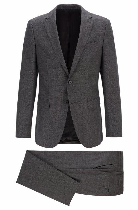 Fein gemusterter Slim-Fit Anzug aus Schurwoll-Serge, Dunkelgrau