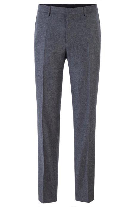Slim-fit trousers in melange virgin wool, Dark Grey