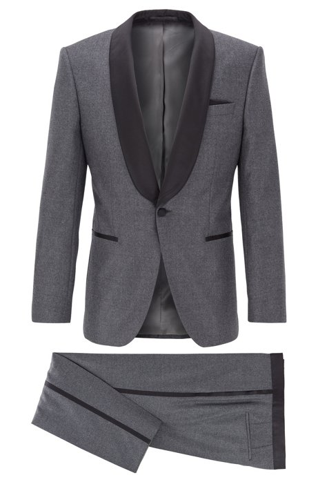 Smoking slim fit in lana vergine con finiture in seta, Grigio