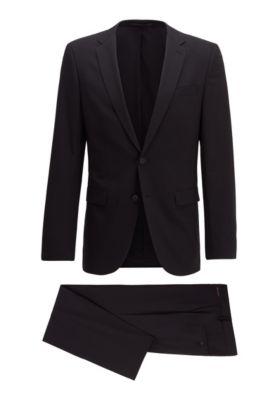 Slim-fit kostuum van een scheerwolmix, Zwart