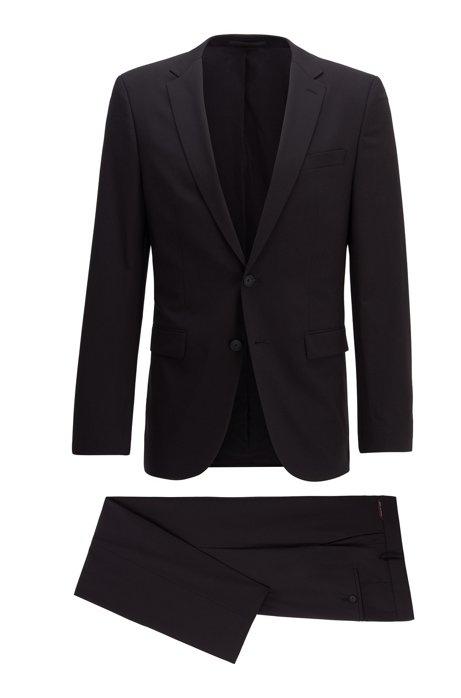 Costume Slim Fit en laine vierge mélangée, Noir