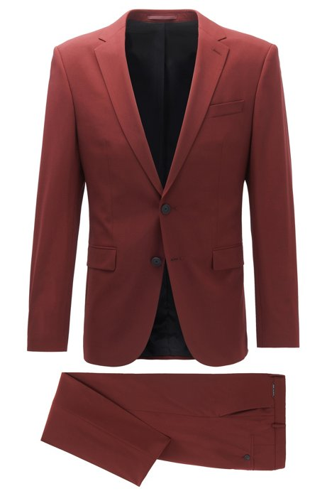 Slim-fit suit in a virgin-wool blend, Dark Red