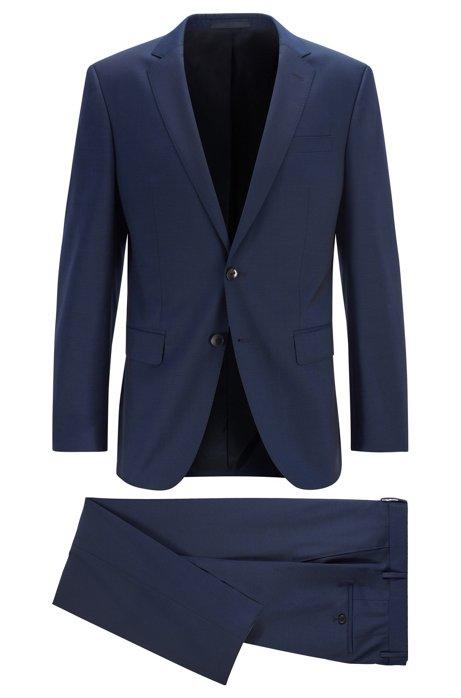 Costume Slim Fit en laine vierge italienne à teneur en stretch, Bleu foncé