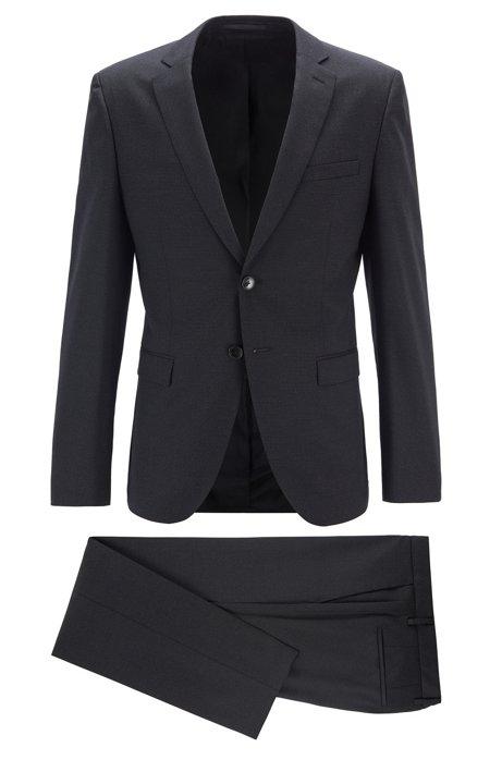 Extra-slim-fit suit in a virgin-wool blend, Black