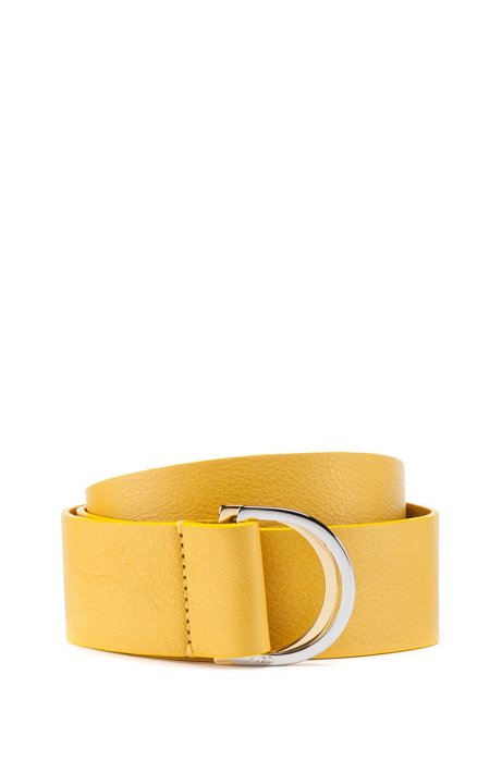 Italian-leather belt with two-tone metallic D-ring, Yellow