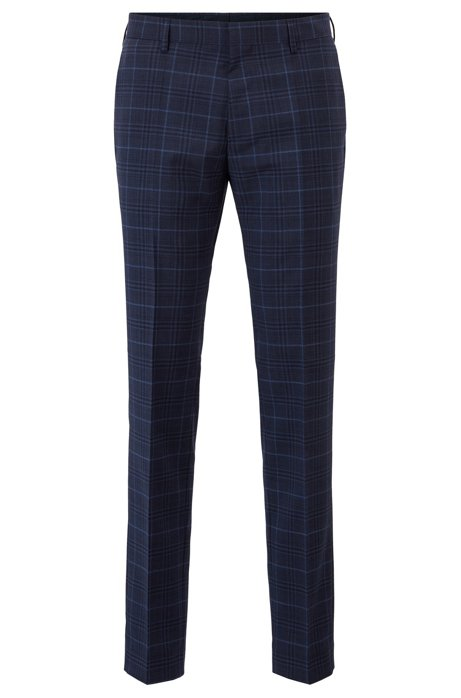 Slim-fit trousers in checked virgin wool, Dark Blue