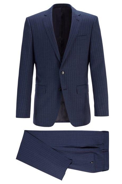 Gestreifter Slim-Fit Anzug aus Schurwoll-Serge, Dunkelblau