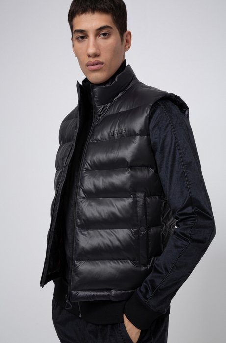 Baffle-quilted gilet with block-effect reversed-logo print, Black