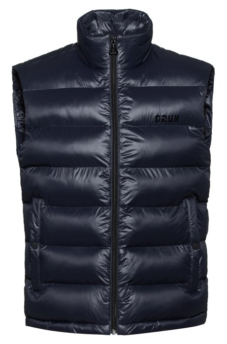 Baffle-quilted gilet with block-effect reversed-logo print, Dark Blue
