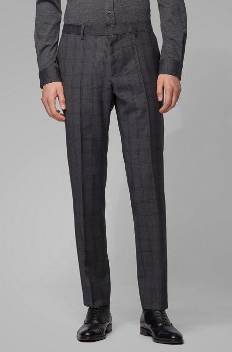 Slim-fit pantalon van geruite scheerwol, Donkergrijs