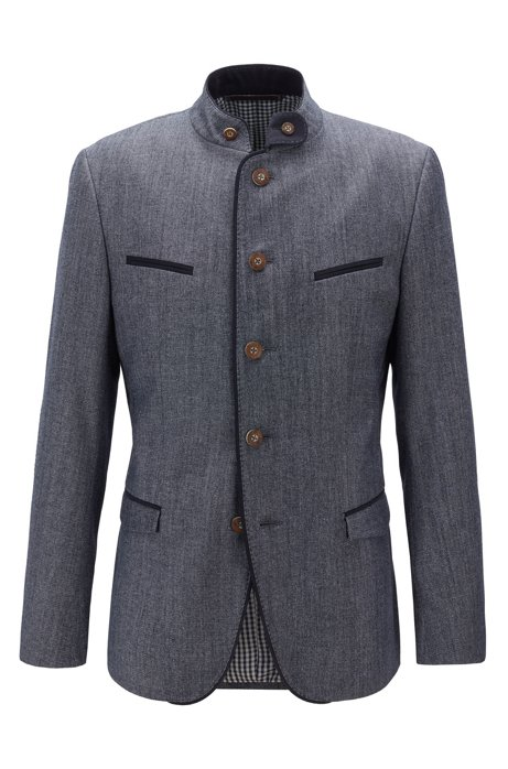 Oktoberfest-style slim-fit jacket with checked lining, Dark Blue