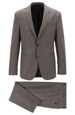 Slim-fit suit in patterned virgin wool, Dark Brown