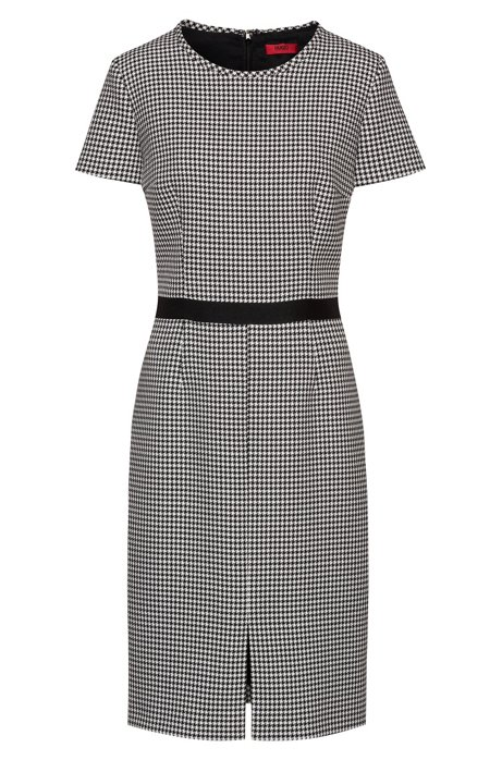 Pencil dress in houndstooth motif with tape waistband, Patterned