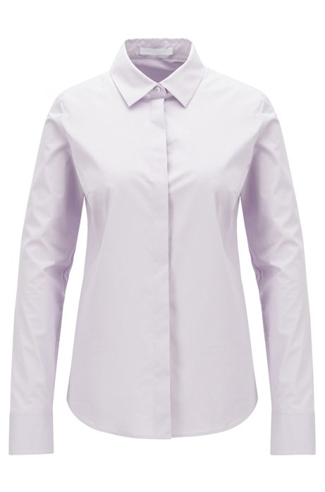 Portuguese-made blouse in paper-touch stretch cotton, Light Purple