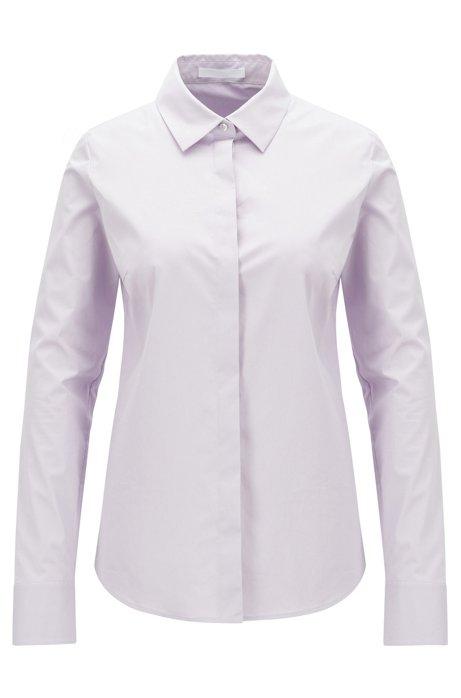 In Portugal vervaardigde blouse van stretchkatoen met papierachtige touch, Lichtpaars