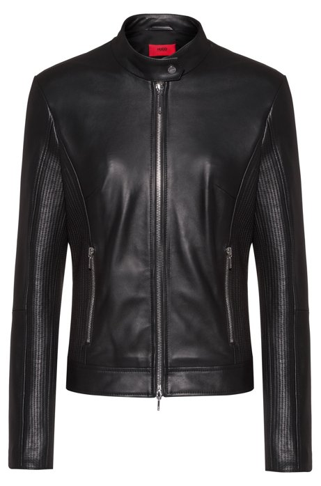 Zip-through leather jacket with stitched details, Black