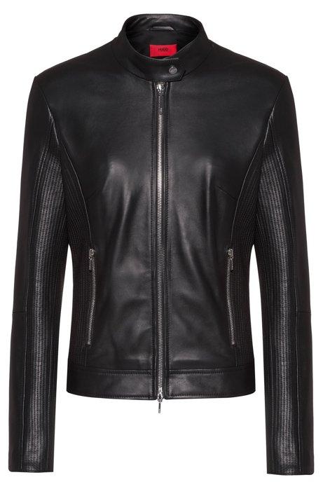 Veste en cuir zippée avec détails surpiqués, Noir
