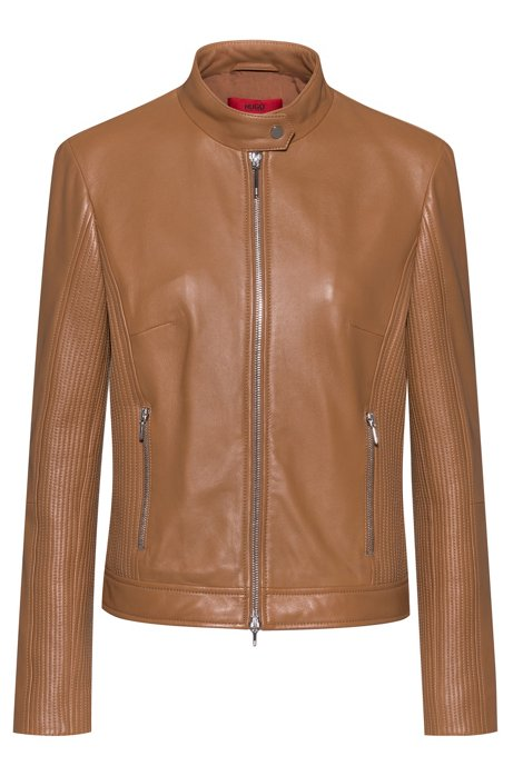 Zip-through leather jacket with stitched details, Brown