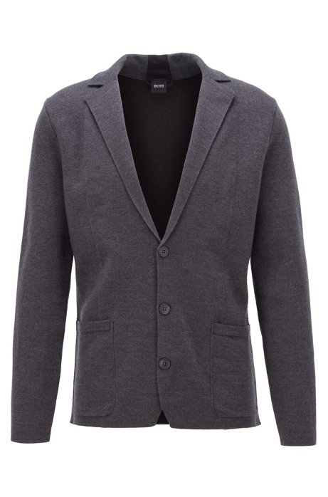 Regular-fit jacket knitted in wool and cotton, Grey