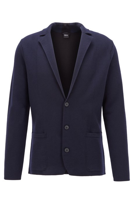 Regular-fit jacket knitted in wool and cotton, Dark Blue