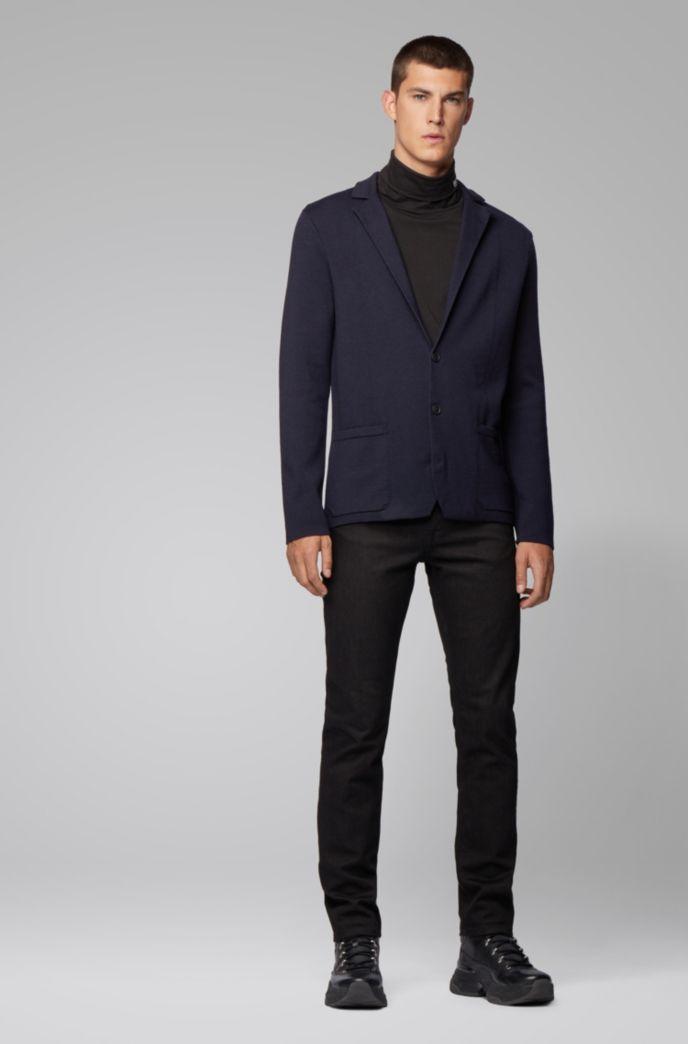 Giacca regular fit in maglia di misto lana e cotone
