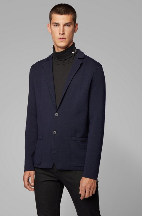 Giacca regular fit in maglia di misto lana e cotone, Blu scuro