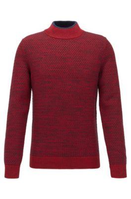 Pull Regular Fit en coton, soie et laine, Rouge sombre