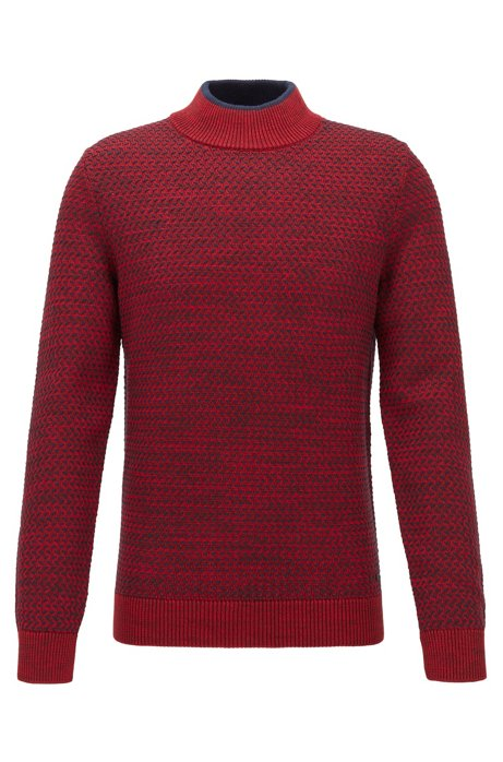 Regular-fit sweater in cotton, silk and wool, Dark Red