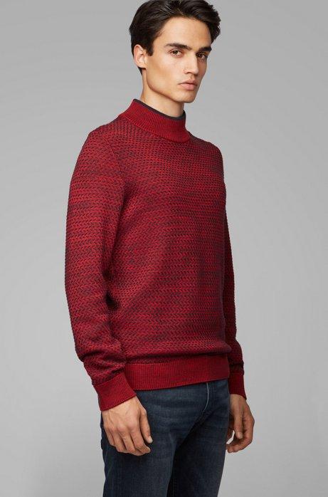 Pullover aus Baumwolle mit Seiden- und Woll-Anteil, Dunkelrot