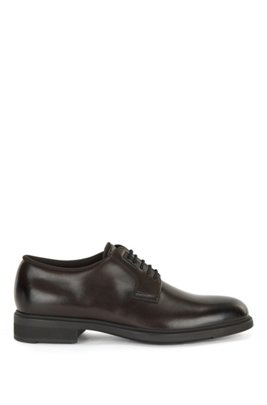 Italian-made leather Derby shoes with Outlast® lining, Dark Brown