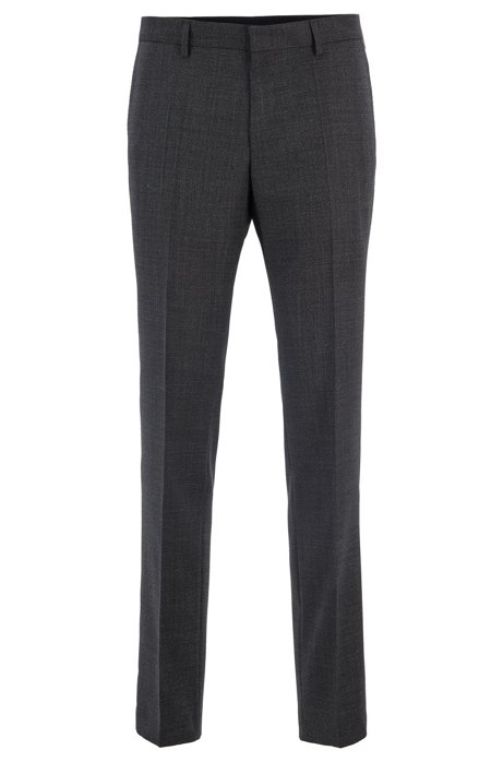Slim-fit trousers in melange virgin wool, Dark Grey
