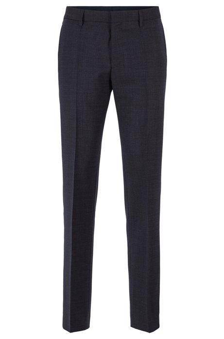 Slim-fit trousers in melange virgin wool, Dark Blue