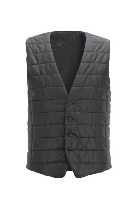 Slim-fit bodywarmer in quilted fabric with buttoned front, Black