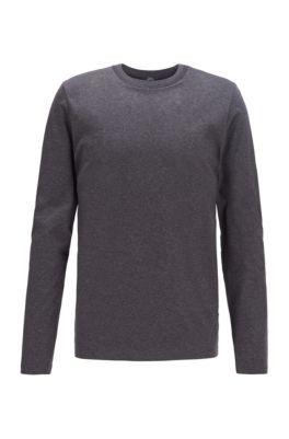 Slim-fit T-shirt met lange mouwen en kraag met visgraatpatroon, Grijs
