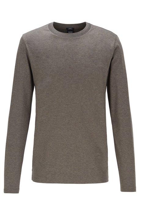 Slim-fit long-sleeved T-shirt with herringbone collar, Grey