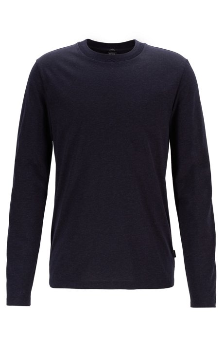 Slim-fit long-sleeved T-shirt with herringbone collar, Dark Blue