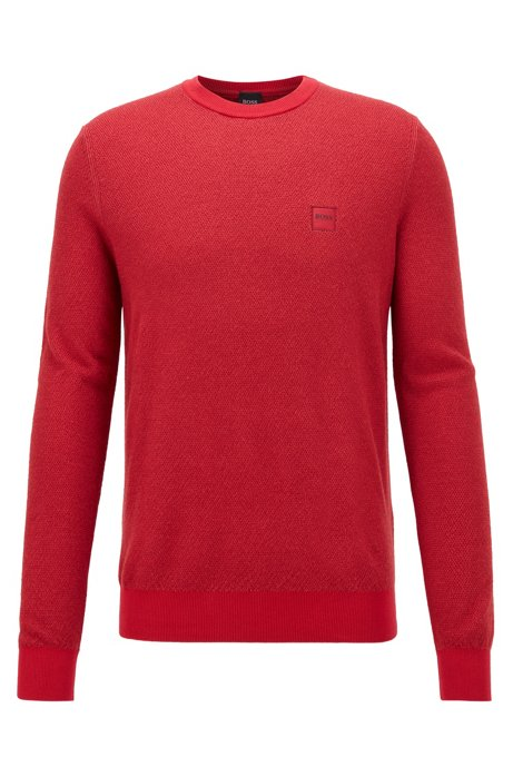 Virgin-wool sweater in structured knit, Red