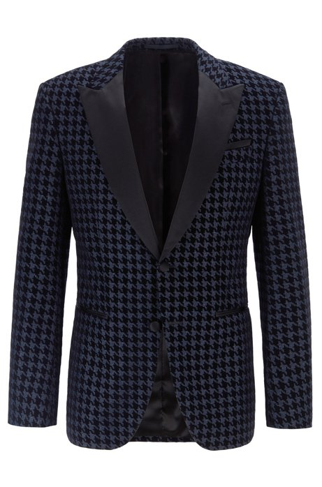 Slim-fit dinner jacket with houndstooth check, Dark Blue