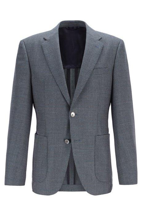 Regular-fit jacket in patterned virgin wool, Open Blue