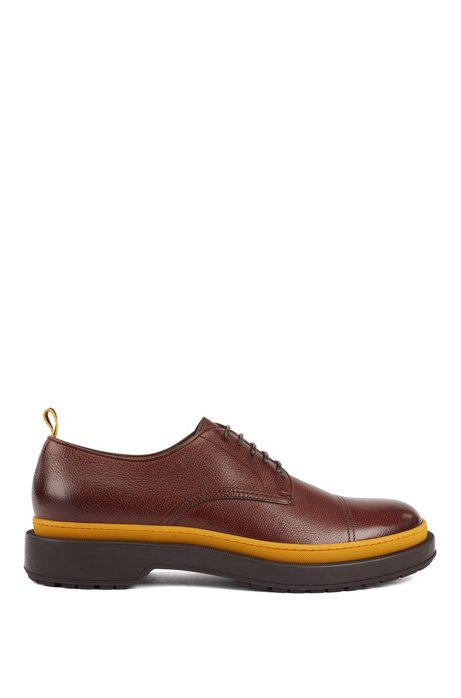 Leather Derby shoes with lug sole and contrast detail, Dark Brown