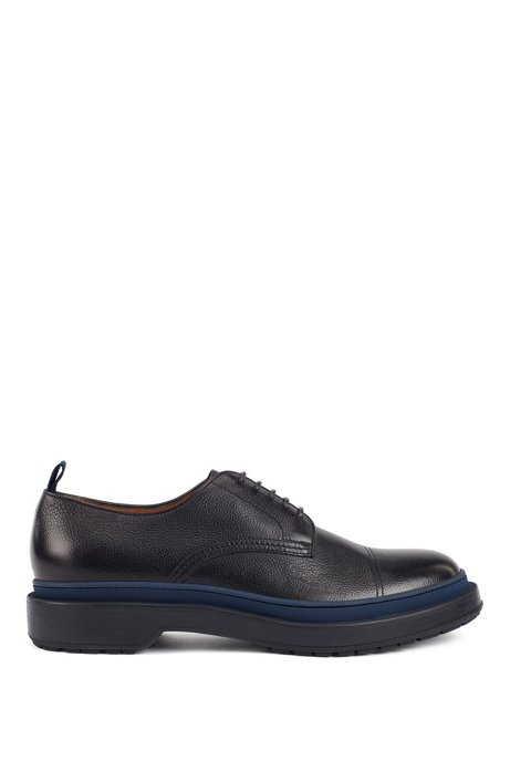 Leather Derby shoes with lug sole and contrast detail, Dark Blue