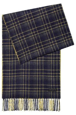 Reversible scarf in checks and stripes with tassels, Patterned