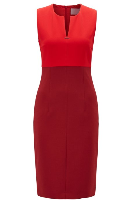 Sleeveless dress with notch neckline and hardware detail, Dark Red